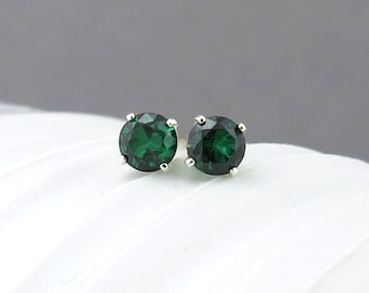 Small Emerald Stud Earrings Green Gemstone Post Earrings May Birthstone Jewelry