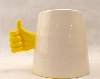 Handmade Thumbs Up Cheerful Optimist Mug