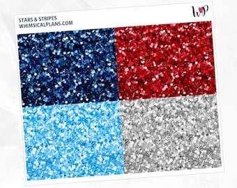 Stars & Stripes Glitter Headers | Matte Glossy Planner Stickers