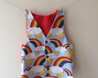 Rainbow waistcoat, rainbow vest, rainbow print, rainbow gift, rainbow clothes, rainbow baby, boys rainbow, baby waistcoat, rainbow wedding