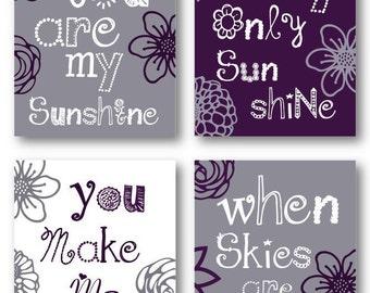 "Flowers Nursery Decor // Flower Nursery Art // Purple Art for Girls // Purple Decor for Girls Room // Plum Nursery Art 4-8x10"" PRINTS ONLY"
