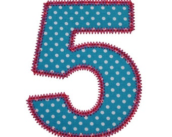 "Pretty Applique Numbers Machine Embroidery Designs Appliques Patterns in 5 sizes 2"", 3"", 4"", 5"" and 6"""