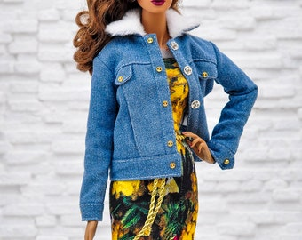 ELENPRIV jeans oversize jacket with hand embroidery and full lining for Fashion Royalty FR16 and similar body size dolls