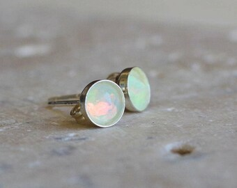 Welo Opal Stud Earrings // Ethiopian Opal on 14k gold fill or Sterling Silver