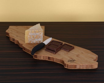 California Shaped bamboo Cheese Board and Cutting Board, Great as Gift or Souvenir