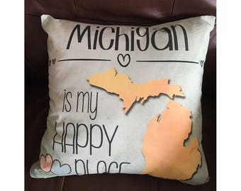 Michigan is My Happy Place in Light Green Throw Pillow