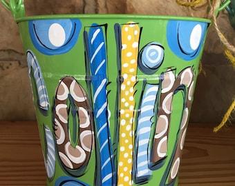 Bucket, Painted Bucket, Green Bucket, Personalized Metal Pail, Dakri Sinclair