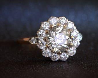 1.81 carat Old European Cut Diamond - Diamond Cluster Engagement ring