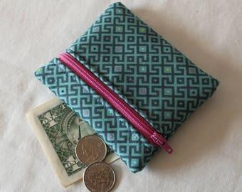 Coin Purse, Zipper Pouch, Change Purse, change pouch, wallet, purple, teal, labyrinth,  puzzle, maze, dots, polka dots