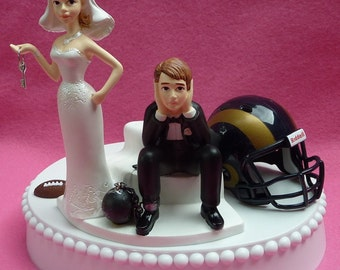 Wedding Cake Topper Los Angeles LA Rams Football Themed Ball and Chain Key w/ Garter Humorous Groom's Cake Top Bridal Shower Gift Idea Fans