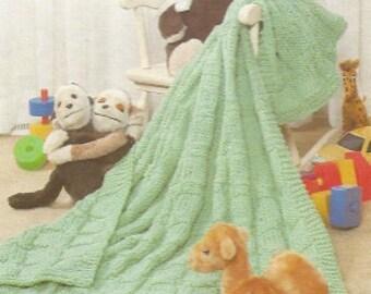 Knit Baby  Vintage Afghan Blanket /OhhhBabyBaby/ bedspread shawl comforter granny lapghan pdf instant download