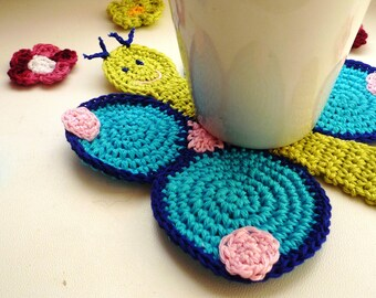 Crochet Coaster - Butterfly Coaster - Drink Coaster - Farmhouse Style Gift - Animal Coaster - Gift for Girl - Gift for Her - Gift under 20