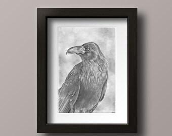 Raven Print - Raven Art - Raven Decor - Wizard Mascot - Geek Gift - Book Lover - Black Bird Art - Black Bird - Bird Art - Wizard House
