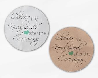 Shower the Newlyweds Wedding Favor Stickers - Mint Custom White Or Kraft Round Labels for Bag Seals, Envelopes (2026)
