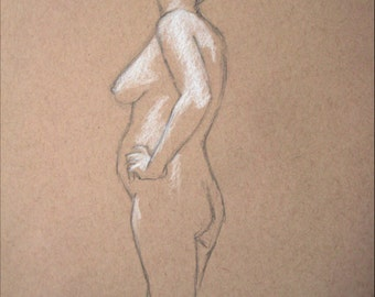 "Female Figure Drawing - Standing Nude Female Figure - original drawing, graphite and pastel on toned paper, 9x12 ""Alicia"""