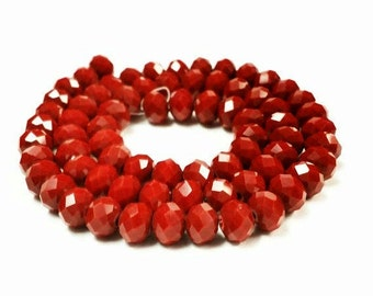70 Red Rondelle Beads, Red Glass Beads, 6x8mm Faceted Glass Beads , Spacer Beads, Red faceted rondelle beads, rondelle beads, r11