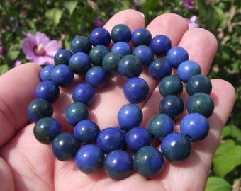 4 Azurite Chrysocolla blue green multicolored 8 MM beads.