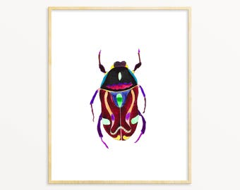 Beetle Illustration / Colorful Insect Art / Watercolor Beetle / Nursery Art / Tween Decor / Minimalist Nature Art