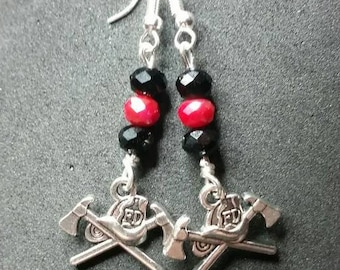 Firemans Helmet and Axe Earrings with Black and Red Crystals