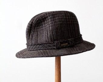 vintage Stetson plaid fedora, wool hat