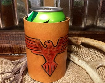Thinderbird insulated leather fringe drink holder