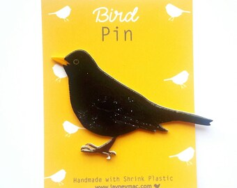 Blackbird Shrink Plastic Pin