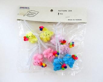 Vintage Miniature Fuzzy Teddy Bear Picks Set of 8/ Miniature Craft Bears