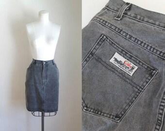 vintage 1980s skirt - STEEL GRAY faded black denim skirt / M