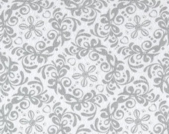 Grey Damask Flannel, Floral Fabric By The Yard, Fabric BTY,  Craft Fabric, Quilting Fabric, Flannel Fabric, Strawberry Patch, Baby Fabric