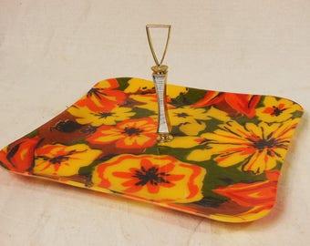 A Square Fiberglass Serving Tray In Autumn Colors