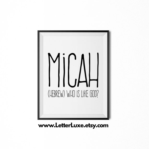 Micah printable kids gift name meaning art baby shower negle Choice Image