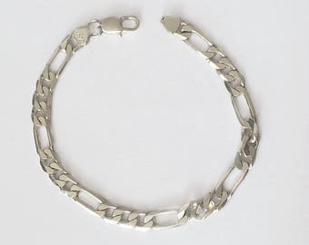 Vintage 1990's 925 Silver Figaro Chain Link Bracelet