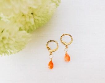 Coral earrings genuine salmon pink tinted Teardrop shape