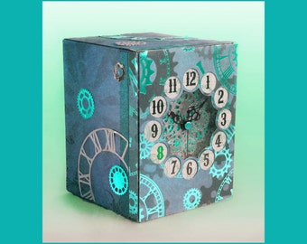 3D SVG Steampunk style Clock  and box Digital Download