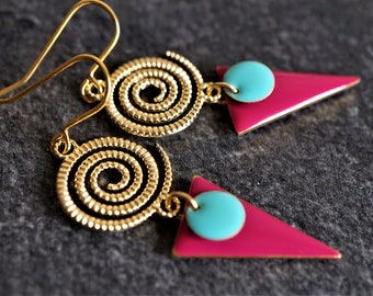 Gold Spiral Fuchsia-Mint Triangle Enamel Earrings* Ethnic* Feminine* Bohomian * Gold jewellery