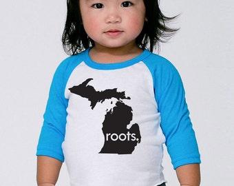 Michigan 'Roots' or 'Made' Baby Toddler Kid Poly Cotton 3/4 Sleeve Baseball Shirt - Baby Shirt
