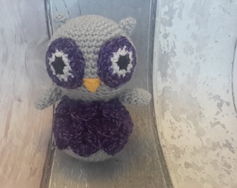 Owl soft toy - ce tested toy, handmade owl toy, owl home decor, crochet owl, purple owl, UK