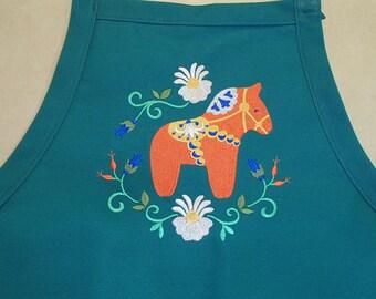 Embroidered Scandinavian Swedish Dala Horse & Flower on Green or Black  Apron #824