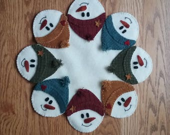 Snow Faces Penny Wool Candle Mat