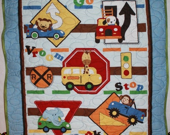 Animals on the Go Kid's Quilt Crib/Lap/Wall