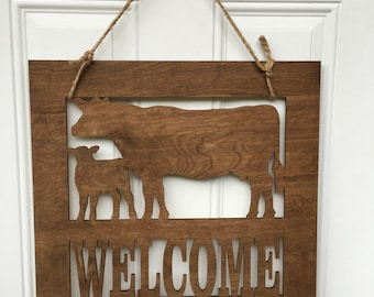 Cow door hanger, cow door decor, cow decor, welcome sign, farm sign, cows, Farm life, farmhouse