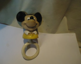 Vintage 1979 Mickey Mouse Baby Rattle Teether Toy, collectable, Walt Disney