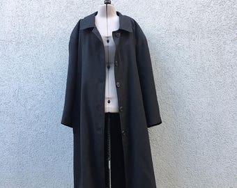 Vintage 90s Women's Long Black Coat, 90s Fall Coat, 90s Outerwear, 90s Black Trench Coat, 90s Women's Coats, 90s Women's Clothing, Size M
