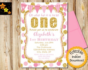 Pink and Gold First Birthday Invitation, Girl, Invite, Dots, Gold Glitter, ONE, Instant Download, DIY Editable Adobe Reader, Printable