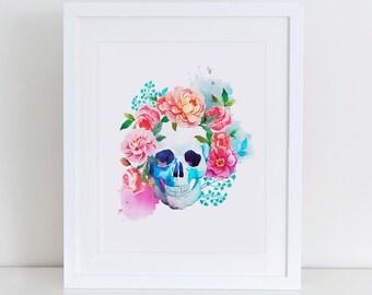 Floral Skull Art Print, Instant Download,  Printable Home Decor, Digital Art Print, Watercolor Skull, Modern Wall Art Illustration