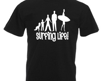 Surfer Gift Adults Black T Shirt Sizes From Small - 3XL