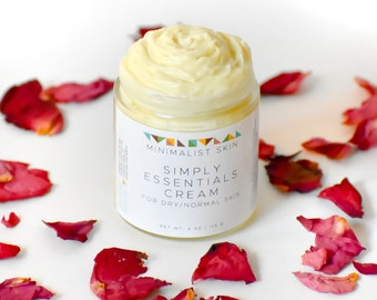 Rose Creamy Moisturizer for Dry Skin  | Natural Vegan Facial Cream, Skin Cream, Thick Lotion, Body Cream | Coconut Oil, Shea Butter