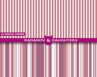 Pink Stripe Digital Paper Set Wedding Design Ashes of Roses
