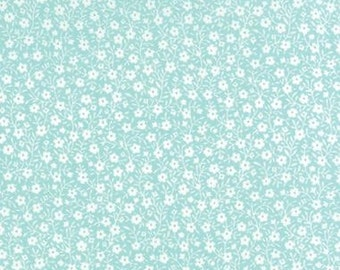White Flowers on Aqua Blue - Sew and Sew Fabric from Moda