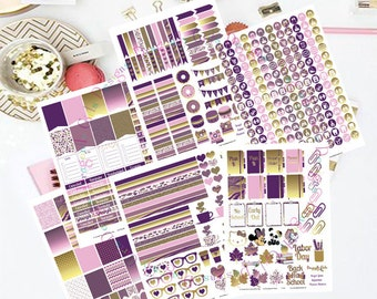 50% OFF Sale! DIY Purple Gold Printable Planner 450 Stickers pdf and 6 jpeg